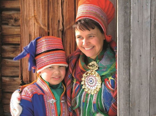 Sami costume, traditional dress mother and son